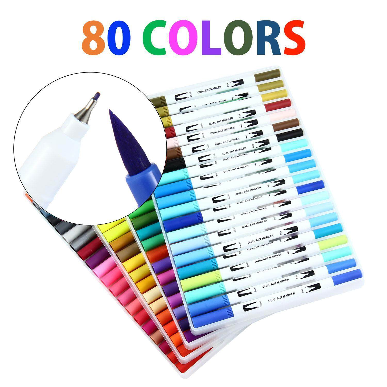 Mua leegoal Dual Brush Pens Set,Dual Tip Watercolor Markers For Adult Kids Books Journal Calligraphy Lettering(26.5*17.5*5cm)