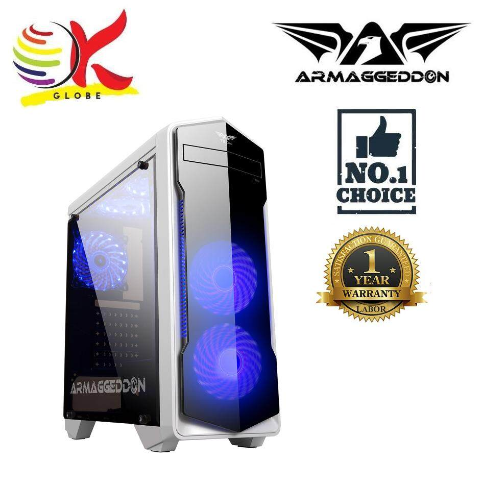 ARMAGGEDDON ATX T5X PRO SMART GAMING STRUCTURE PC CHASIS WITH BOTTOM MOUNT PSU DESIGN FULL VIEW TRANSPARENT FRONT AND SIDE PANEL DESIGN Malaysia