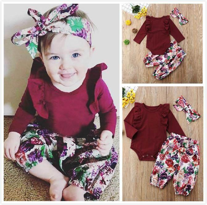 fb2f3025d888f Newborn Baby Girls Bodysuit Romper Tops Floral Pants Headband Outfits 3PCS  Clothes Set 0-18M