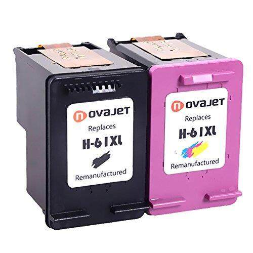 Novajet Remanufactured For HP 61XL Ink Cartridge 1 Black 1 Tri Color Replacement CH563WN CH564WN 61 XL Deskjet 1000 1510 2510 3050 3510 Envy 4500 5530 Officejet 2620 2621 4632 4635 Printer 2 Pack - intl
