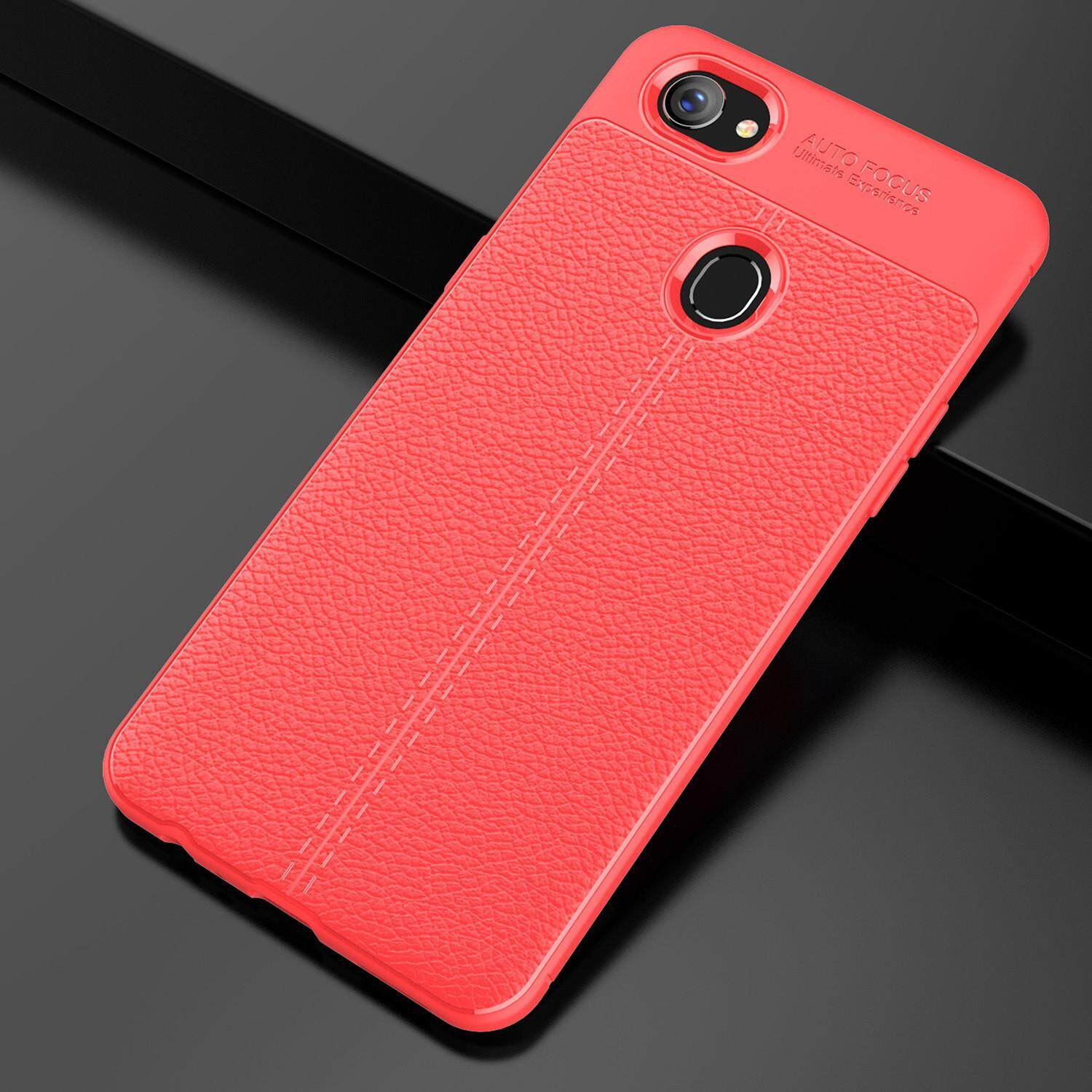 Fitur Galeno Shinning Auto Focus Metallic Case Slim Oppo Info Soft Tpu Leather F7 Cover Casing Fiber Black Blue Red