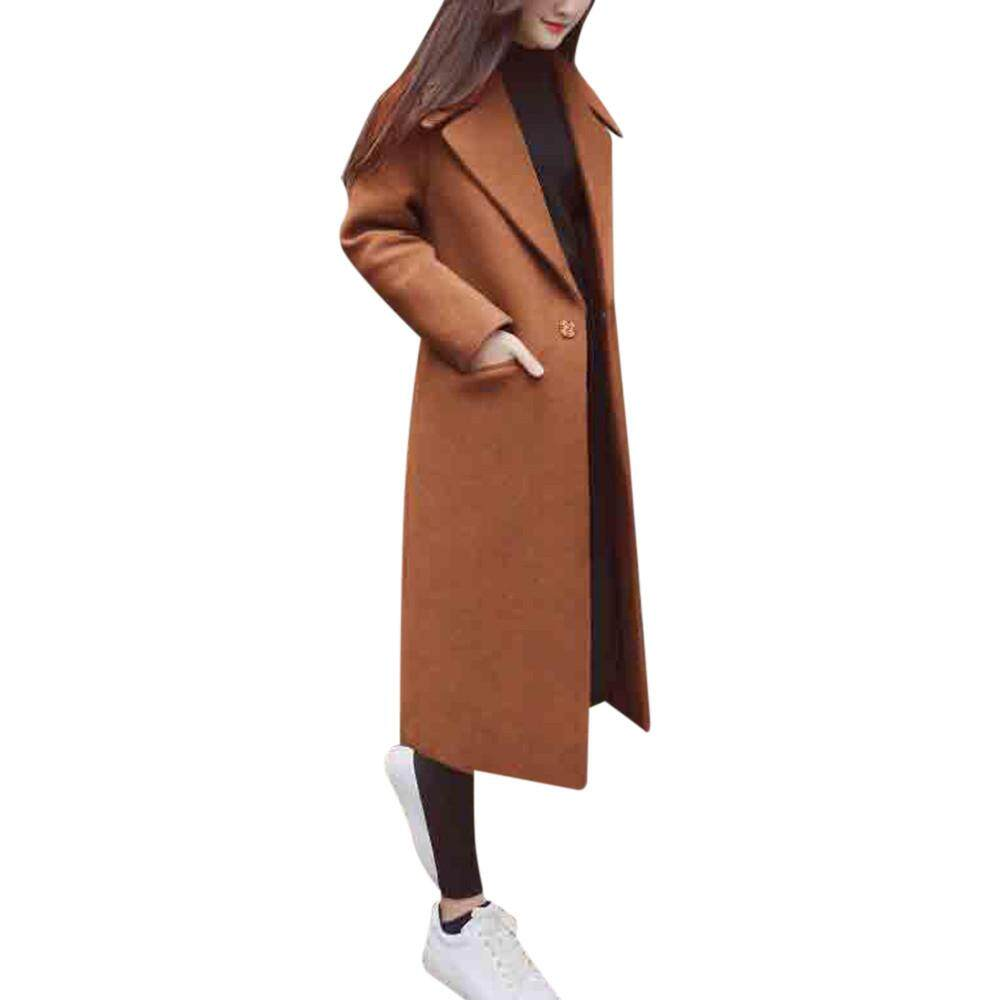 dbcec511b0 GUO Womens Winter Lapel Wool Coat Trench Jacket Long Sleeve Overcoat Outwear