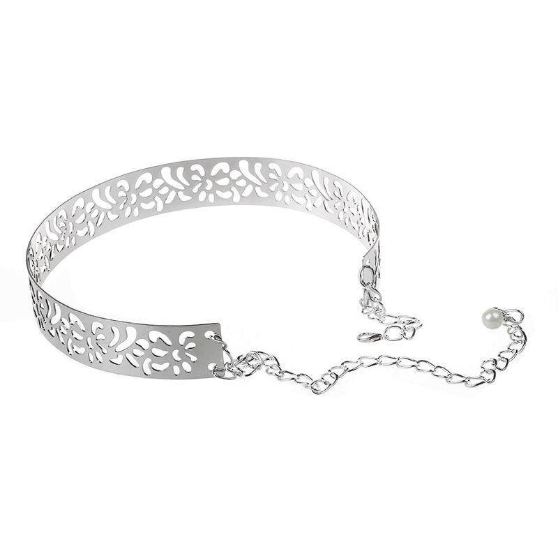 Detail Gambar Fashion Women Full Metal Mirror Waist Belt Hollow Decor Waistband Silver - intl Terbaru