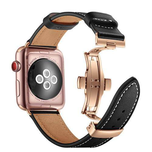 Butterfly Loop Band Strap For Apple Watch 4 44mm 40mm Leather Iwatch Series 4/3/2/1 42mm 38mm Wrist Bracelet Watchband Belt By Bluesky Store.
