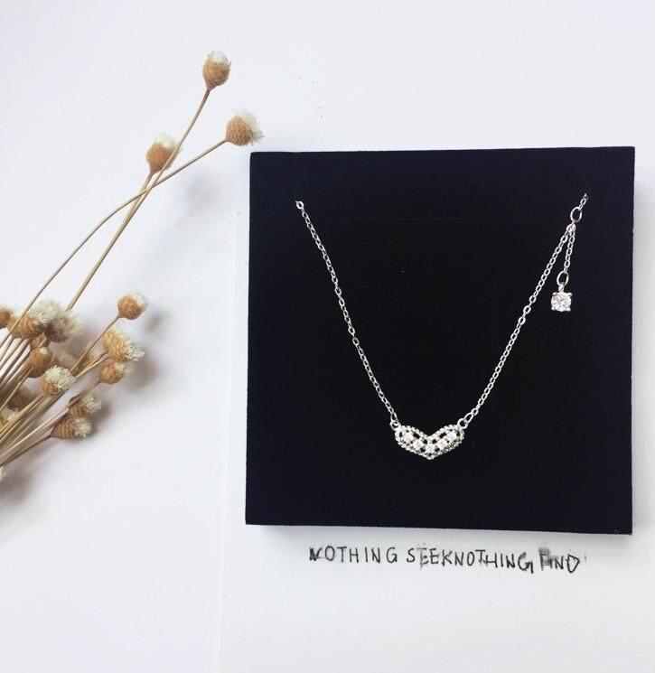 【Sterling silver】Baru cinta manis kalung s925 sterling silver jantung rumbai berlian rantai klavikula