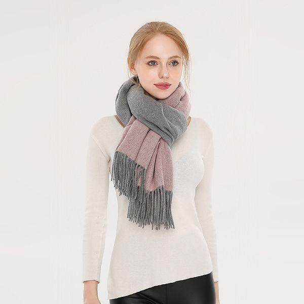9bc392a074b32 Winter Autumn Occident Fashion Double Color Wool Herringbone Twill Plain  Color Warm-Keeping Scarf Air
