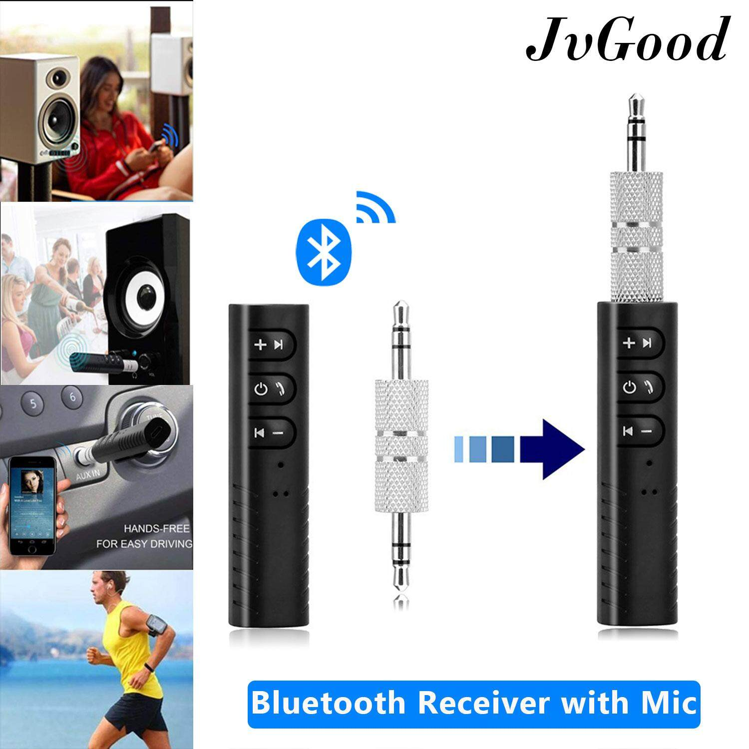 Jvgood Bluetooth Receiver, 3.5mm Aux Bluetooth 4.1 Receiver Audio Music Car Receiver Wireless Handsfree Adapter Dongle Bluetooth Car Speaker, With Microphone For Pc Speakers, Car&home Stereo Sound System And A/v Receivers By Jvgood.