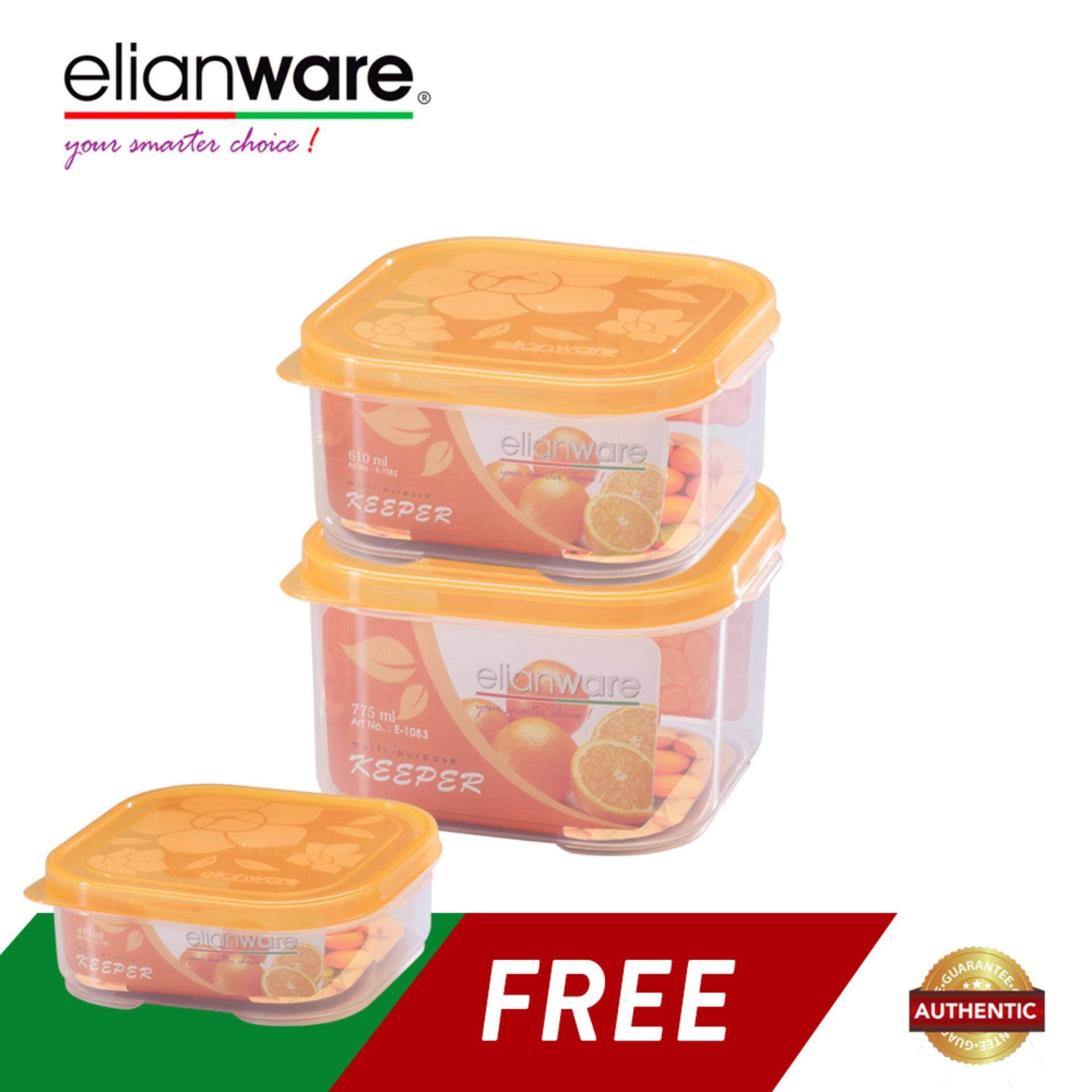Elianware 3 Pcs Square Transparent Plastic Food Containers Set BPA Free