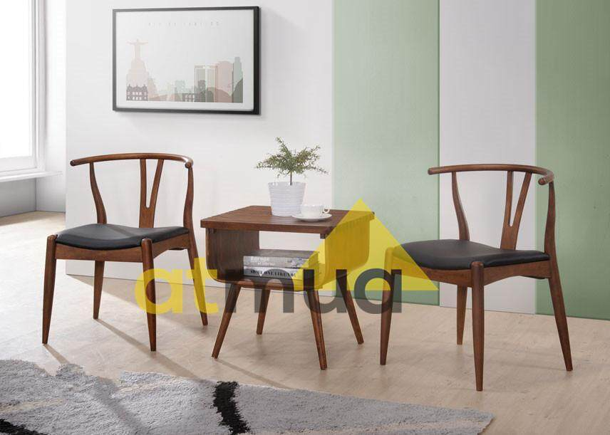 Atmua Coal Tea Set (2 Chair + 1 End Table) (Scandinavian Style) [Full Solid Wood]