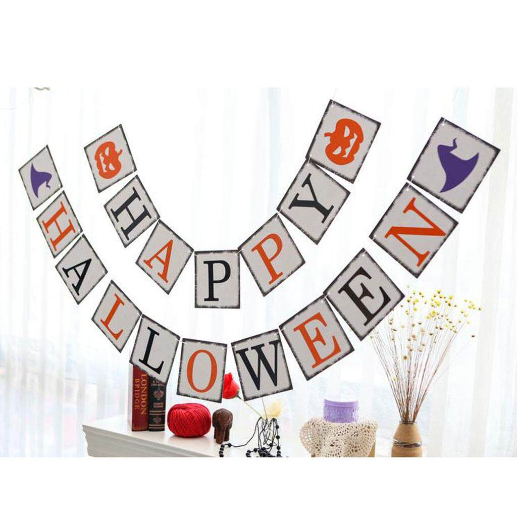 Bolehdeals Happy Halloween Ghost Pumpkin Witch Banner Hanging Garlands Bunting Banner Party Decoration By Bolehdeals.