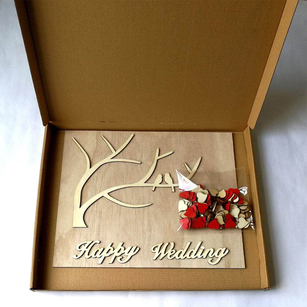 HOSSEN Elegant 3D Wooden Heart Tree with 2 Birds Wedding Guest Book Sign Board Wedding Decorations Style:As shown
