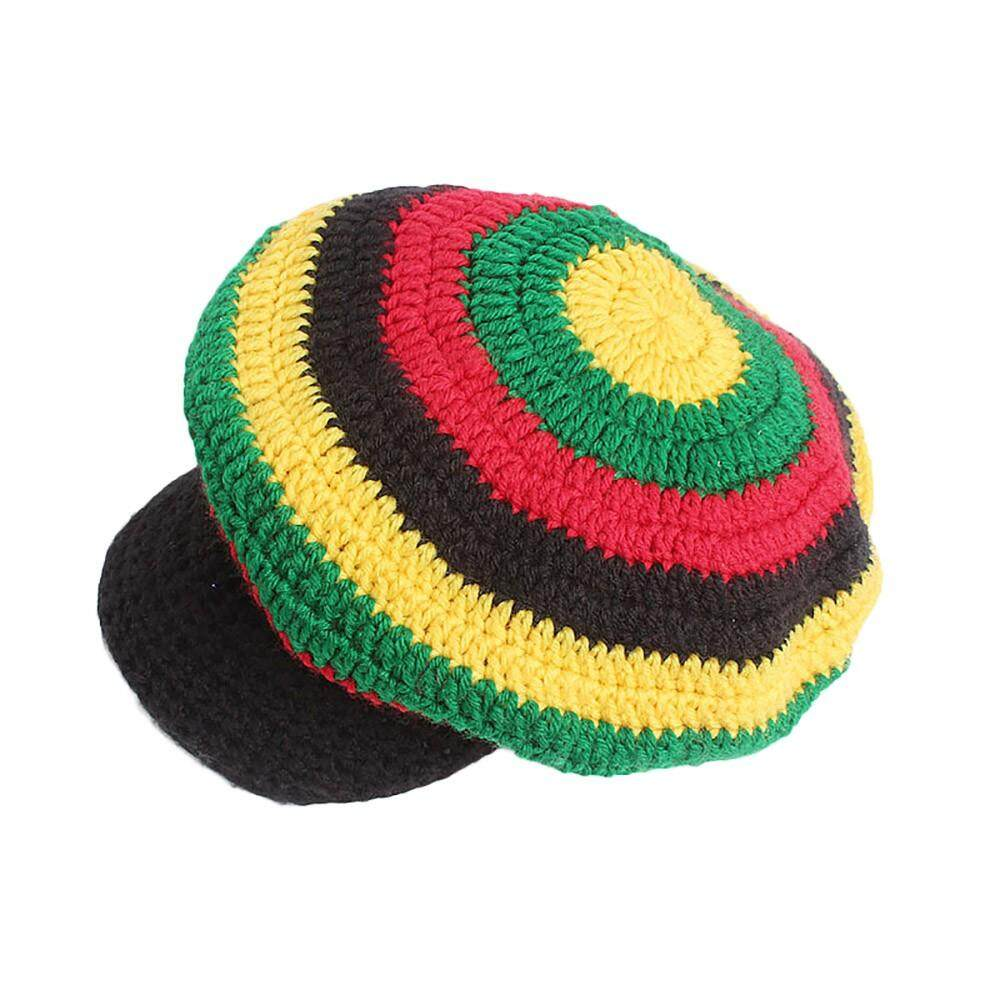 2638d38630d52 Women Winter Wool Cap Multicolor Striped Knitted Wool Caps Rasta Hat