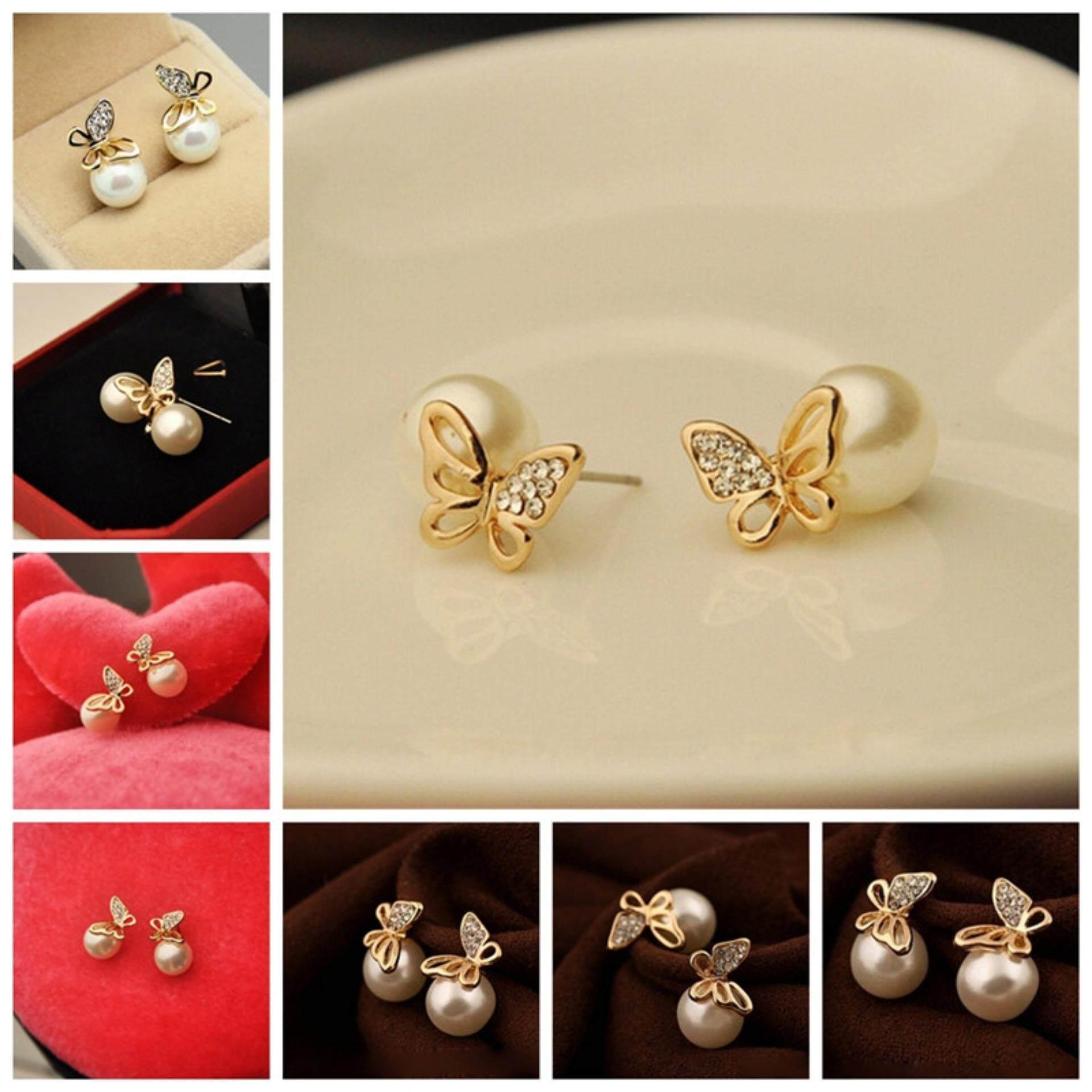 ... Baru Perhiasan Wanita Kristal Gold Mutiara Kupu-kupu Telinga Kado Anting -anting Permata- ...