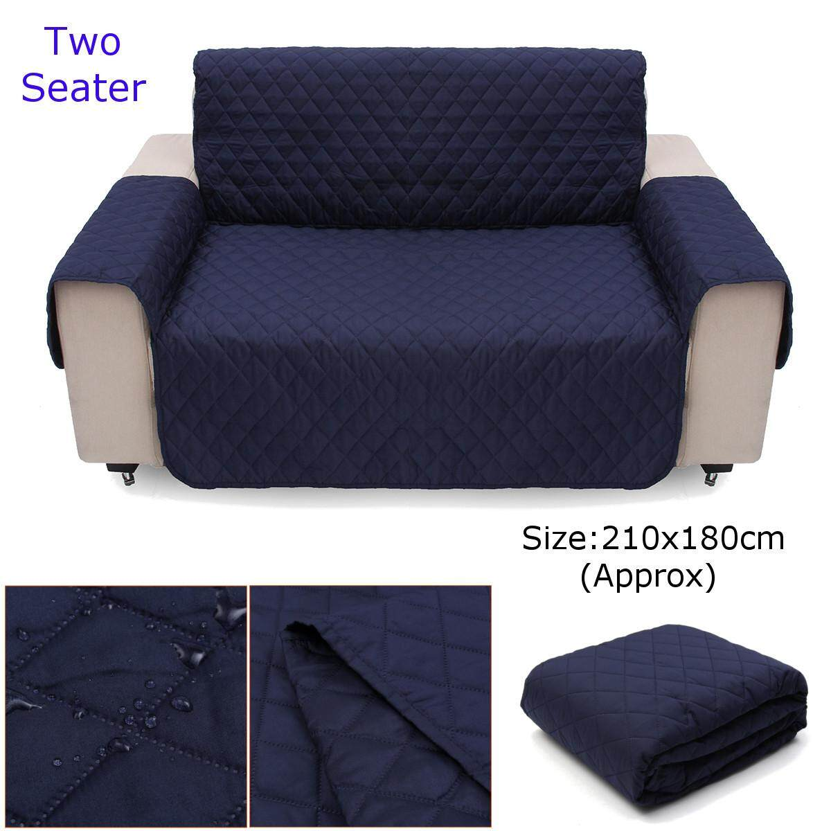 Couch Sofa Cover Removable Quilted Slipcover Pet Protector W Strap 2 Seater Black Blue Beige