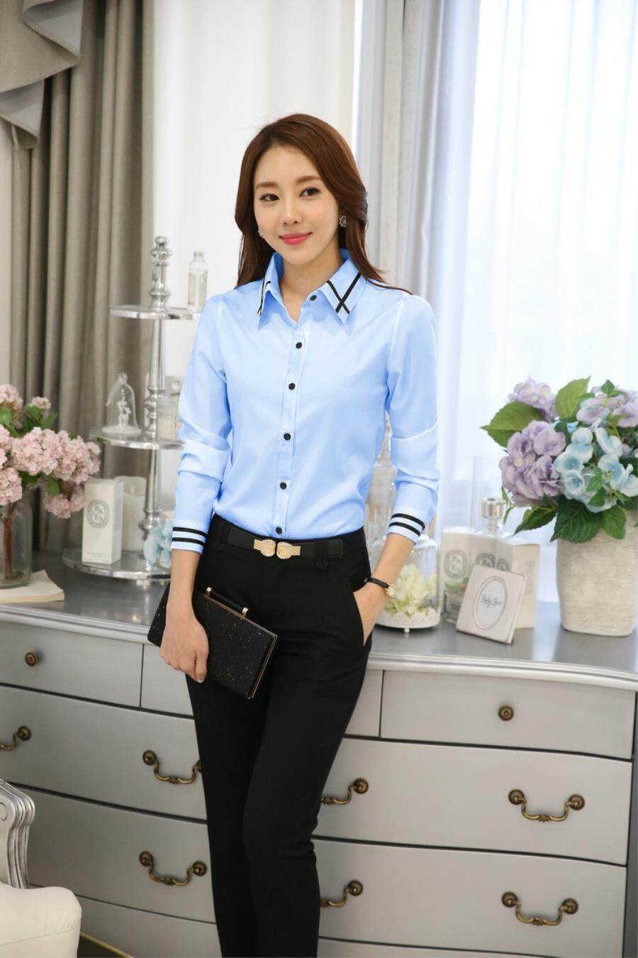Fashion Formal Shirt Women Clothes 2018 New Slim Long Sleeve White Blouse Elegant Ol Office Ladies