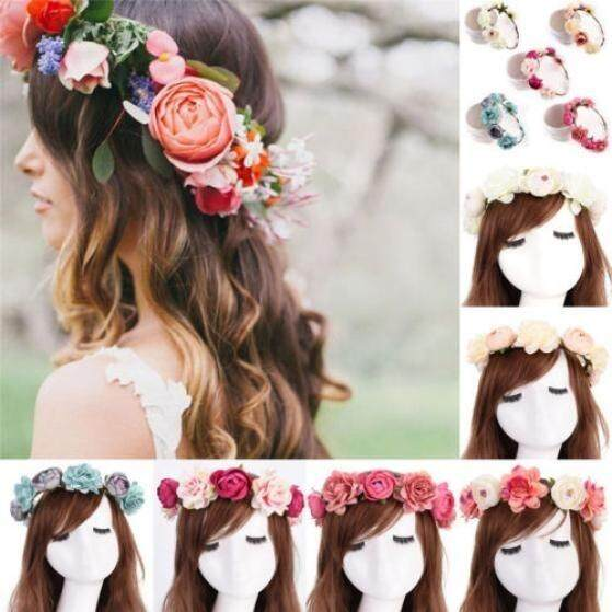 Women Girls Boho Flower Floral Hairband Headband Crown Party Bride Wedding - intl