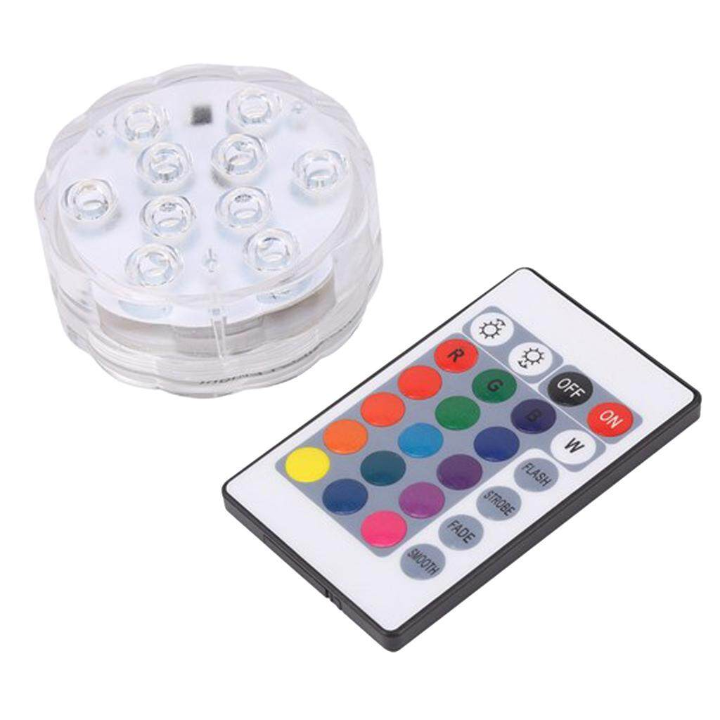 MagiDeal Waterproof Pool Wall Light LED Color Changing Remote Control 7cm 10 LED