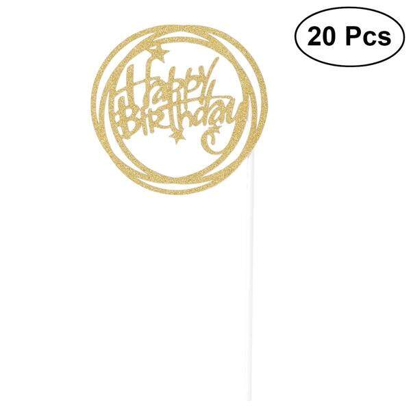 20 Pcs Happy Birthday Printed Words Glitter Paper Cake Insertion Card Cake Cupcake Toppers Decoration With Paper Stick And Dispensing Glue(gold) By Pickegg.