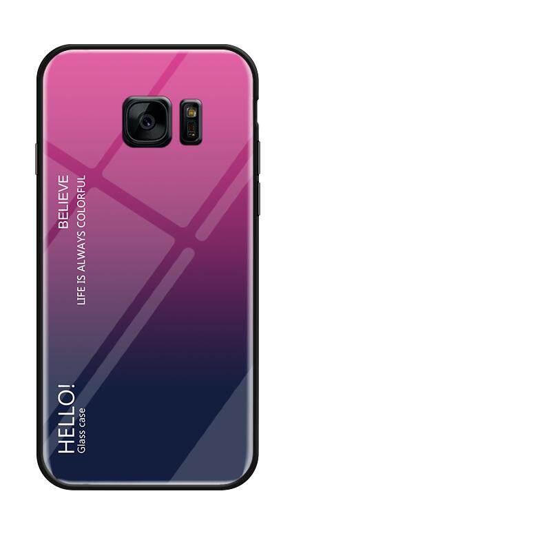Untuk Galaxy S7 Edge Gradien Warna Kaca Antigores Casing Kaca Penutup Belakang Lembut TPU Bumper Case