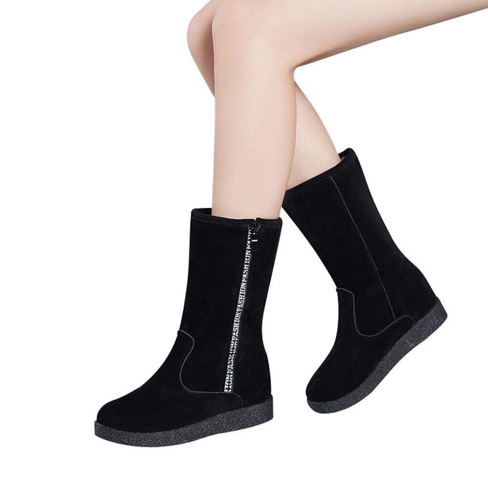 6fa8aa90ff1 2019 Wonder Korean-style Women Flcok Boots Flat Low Zipper Middle Tube Boots  Casual Shoes