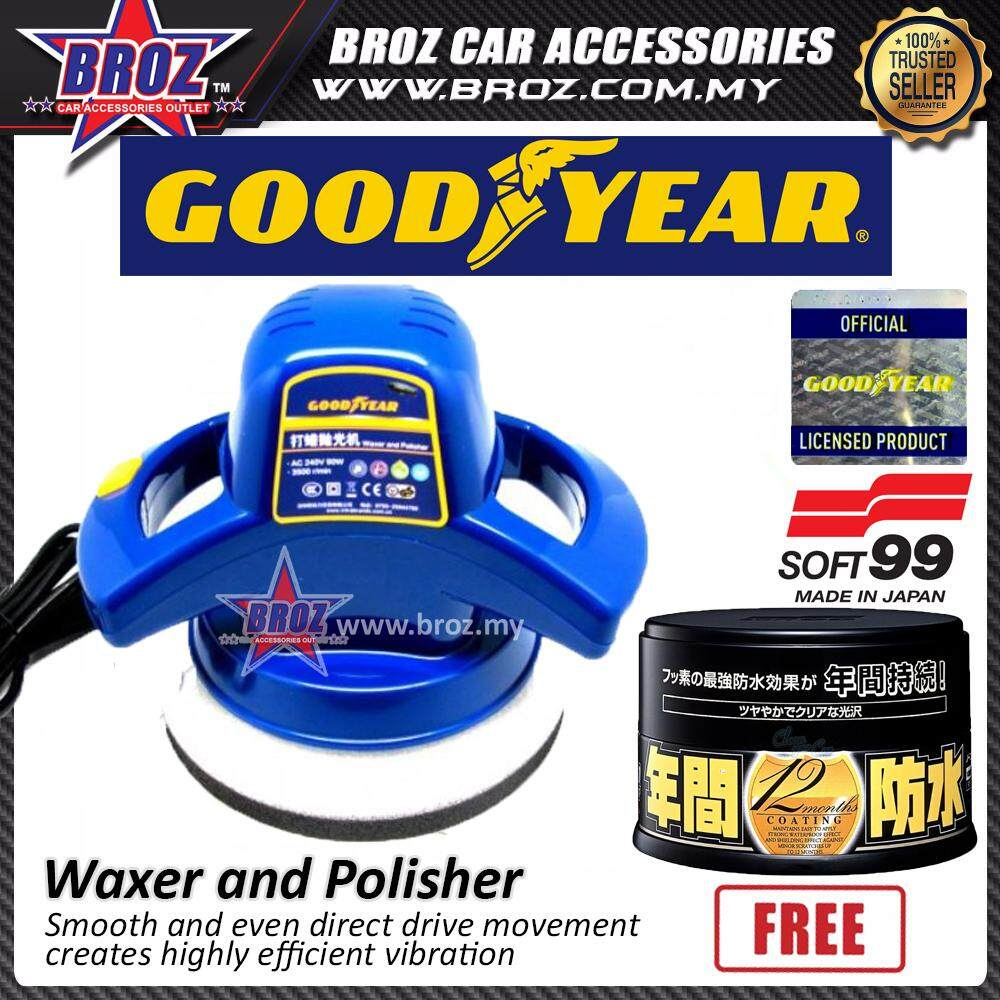 Broz Goodyear GY-2848 Car Waxer and Wax Polisher + Free Soft 99 Fusso Coat Dark Color