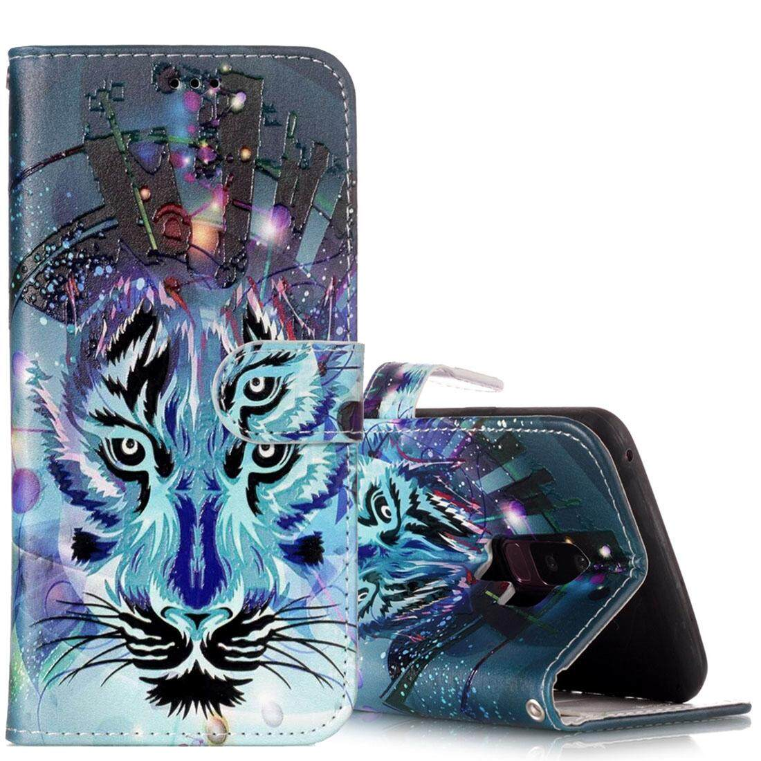 For Samsung Galaxy S9+ Gloss Oil Embossed Wolf Pattern Horizontal Flip Leather Case with Holder & Card Slots & Wallet - intl