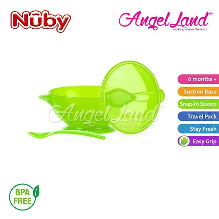 Nuby Suction Bowl With Spoon And Lid (Green) - NB5441