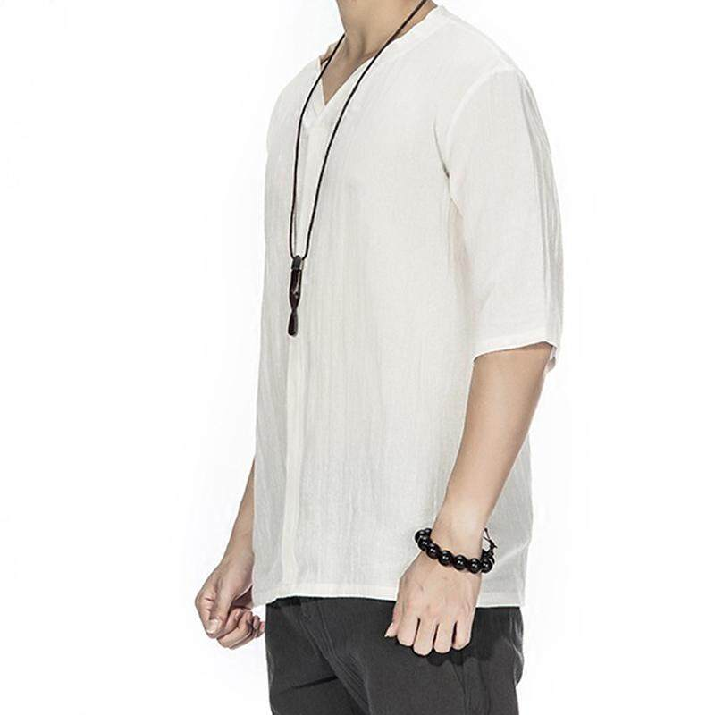 af13b1590c1f Summer Vintage Chinese Style Cotton Linen Solid Color V-neck Casual Loose T  Shirts for