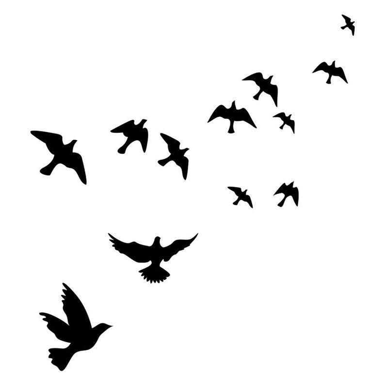Tahan Air Terbang Gambar Burung Poster Dinding Hiasan Dinding Latar Stiker-Intl