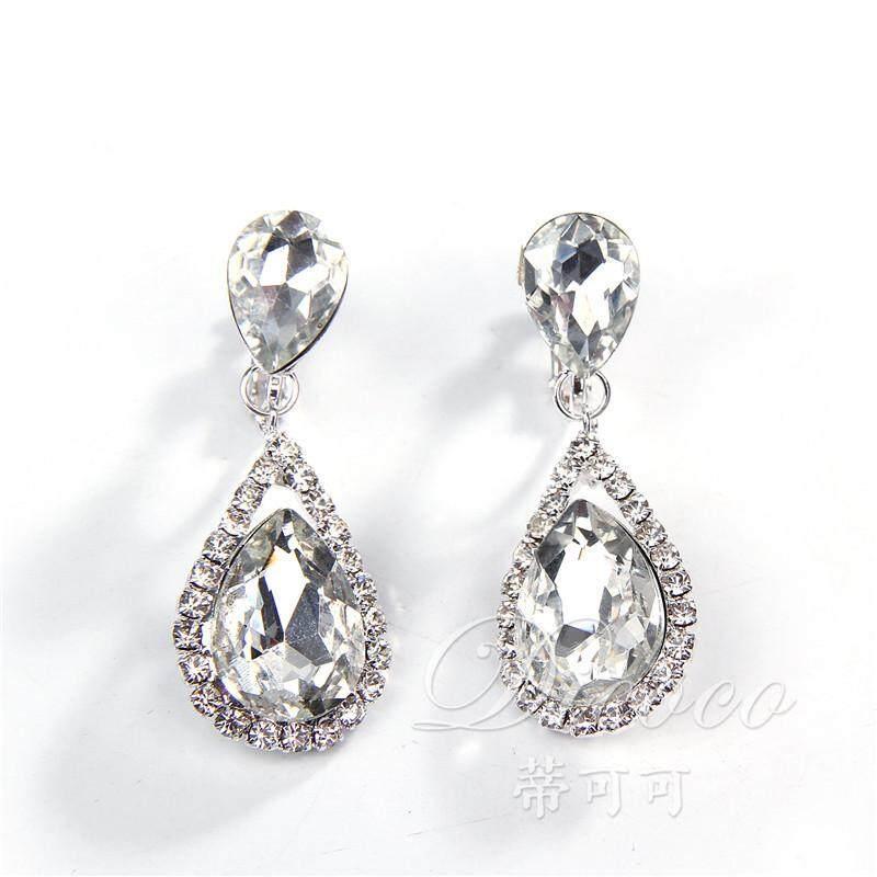 Model Korea Pengantin Wanita Anting anting Model Panjang Elegan Air Diamond Anting anting .