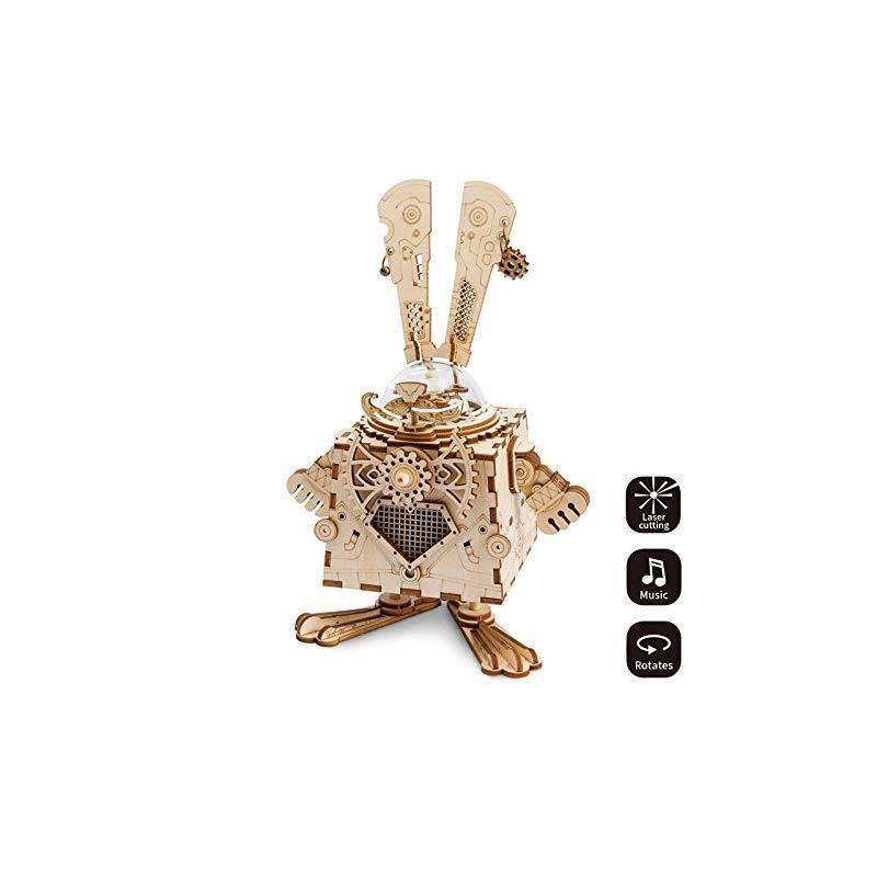 ROKR 3D Assembly Puzzle Build Your Own Wooden Rabbit Music Box Craft Kits for Kids and Adults