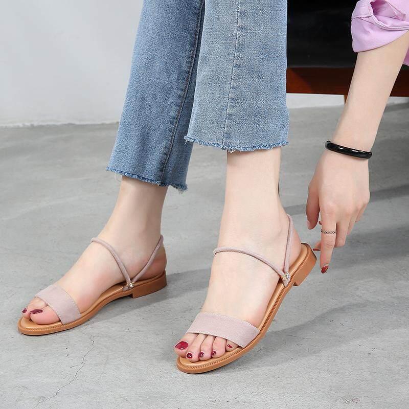 40b487a9c829 Jetrue Ready Stock Women s Dual Wearing Summer Shoes Flat Heel Rhinestone  Slip on Peep Toe Comfy