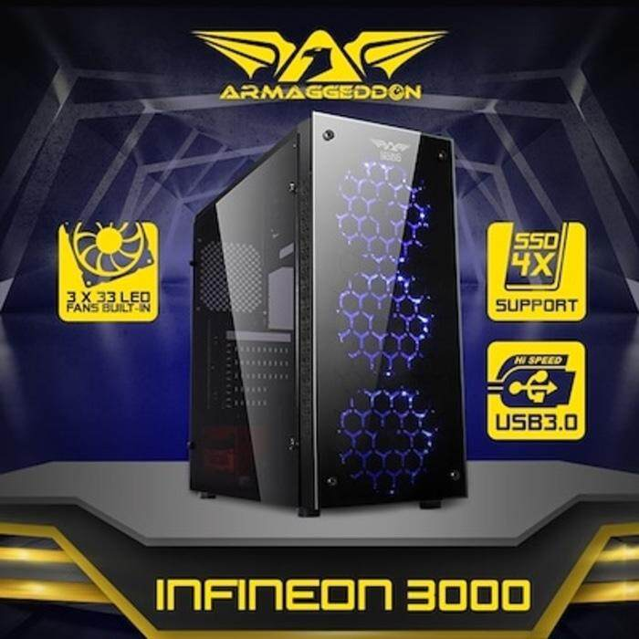 GENUINE ARMAGGEDDON INFINEON 3000 ATX GAMING TOWER FULL VIEW TRANSPARENT SIDE PANEL DESIGN Malaysia