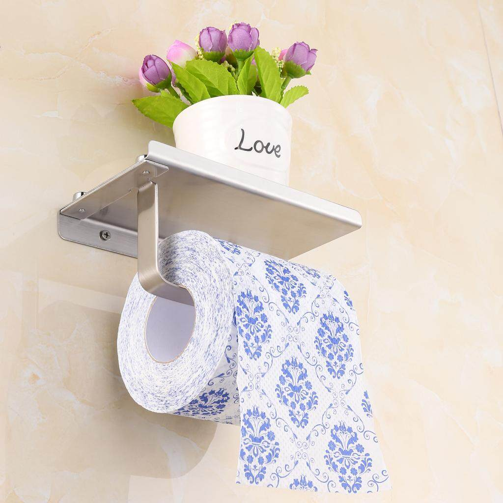BolehDeals Bathroom Wall Mount Stainless Steel Toilet Paper Holder with Storage Shelf
