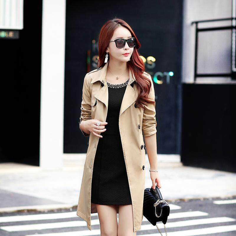 Ladies Fashion 2019 Spring Autumn Korean Double-Breasted Collar Pure Color Long Sleeve Joker Cotton Thin Coat Womens Trench Coat - Intl By Buluolandi.