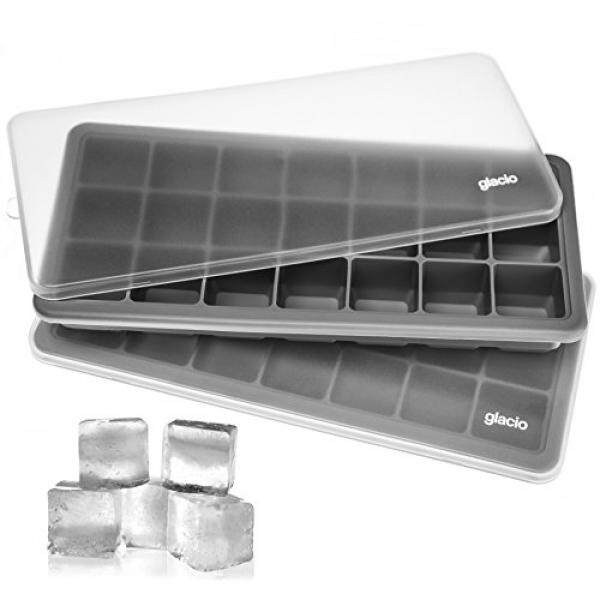 glacio Ice Cube Trays Silicone with Lids - Covered Flexible Ice Trays Small Ice Cube Molds for Chilled Drinks, Whiskey & Cocktails Stackable, Dishwasher Safe, BPA Free Mold Tray Set of 2 - intl