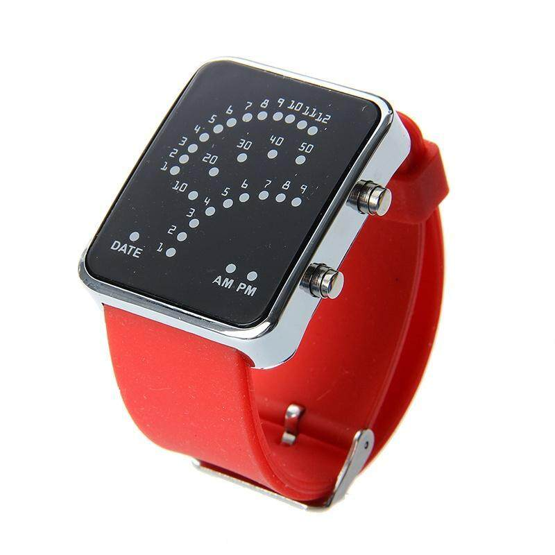 Unisex mens digital day silicon band wristband watch, female fan shape 29 blue LED display, red Malaysia