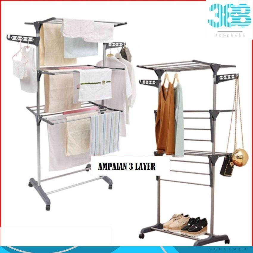 3 Layer Clothes Hanger Drying Rack Portable Foldable Laundry 三层衣架(Grey)