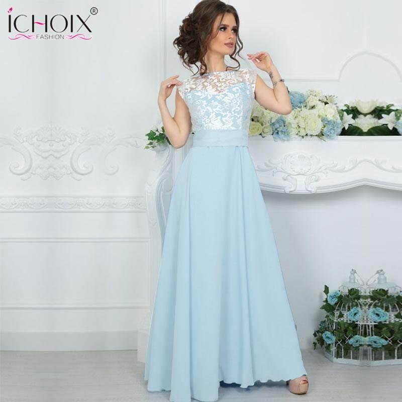 ed1c8715c65 women long summer dress 2018 lace mesh floor length dress patchwork  sleeveless elegant evening party maxi