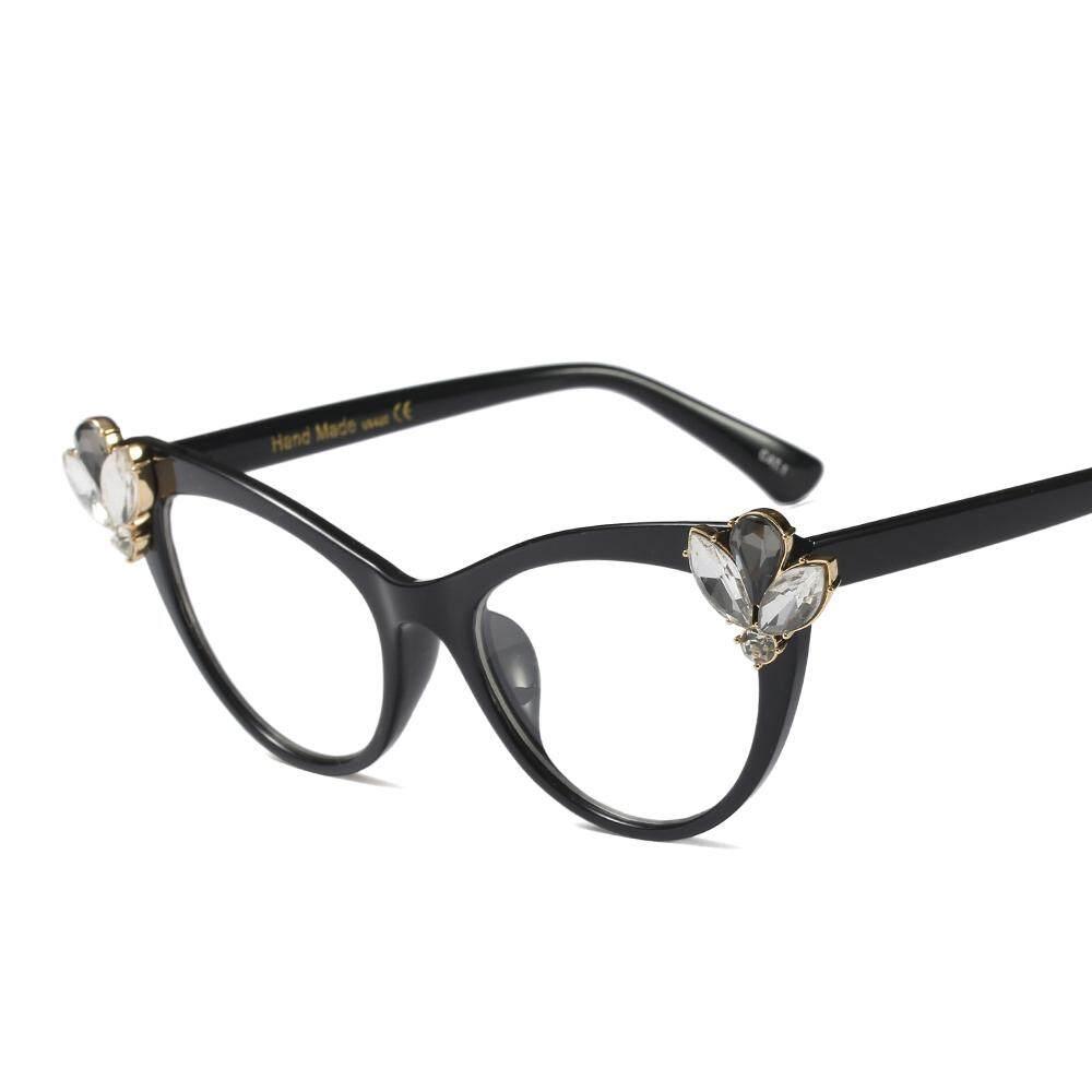 c45054b4ba2 Rhinestone Cat Eye Glasses Frames for Women Brand Designers Sexy Decorative Eyeglasses  Women Accessories Black Leopard