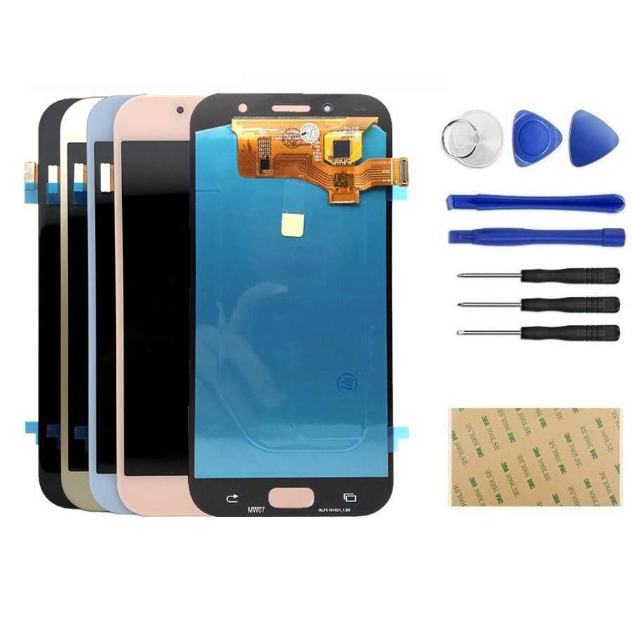 Super AMOLED LCD untuk Samsung Galaxy A7 2017 A720 A720F SM-A720F Layar LCD + Sentuh Layar Digitalisasi Perakitan