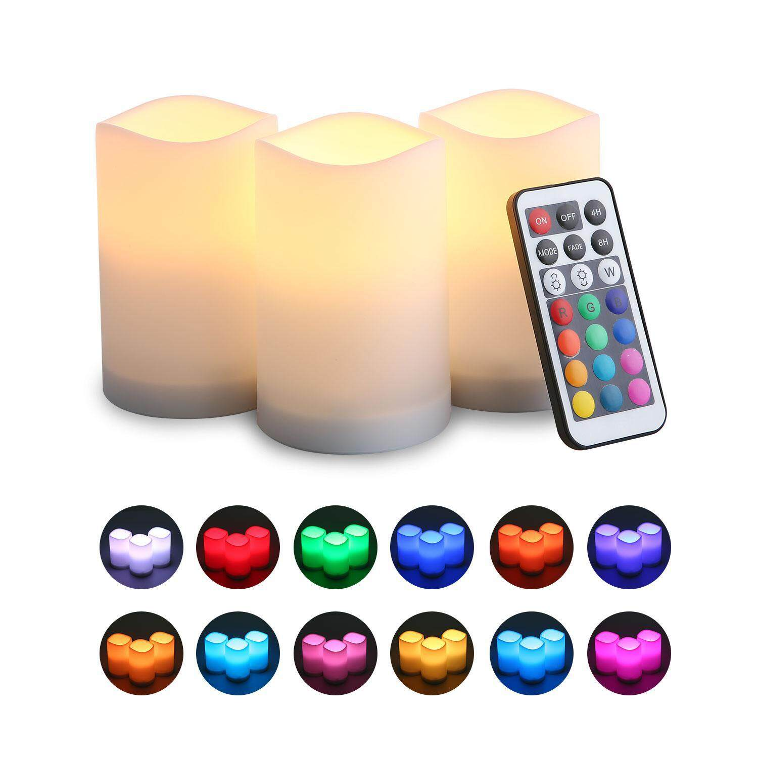 GoodGreat Flameless Candles With Remote LED Pillars Candle With Remote Control And Timer Function