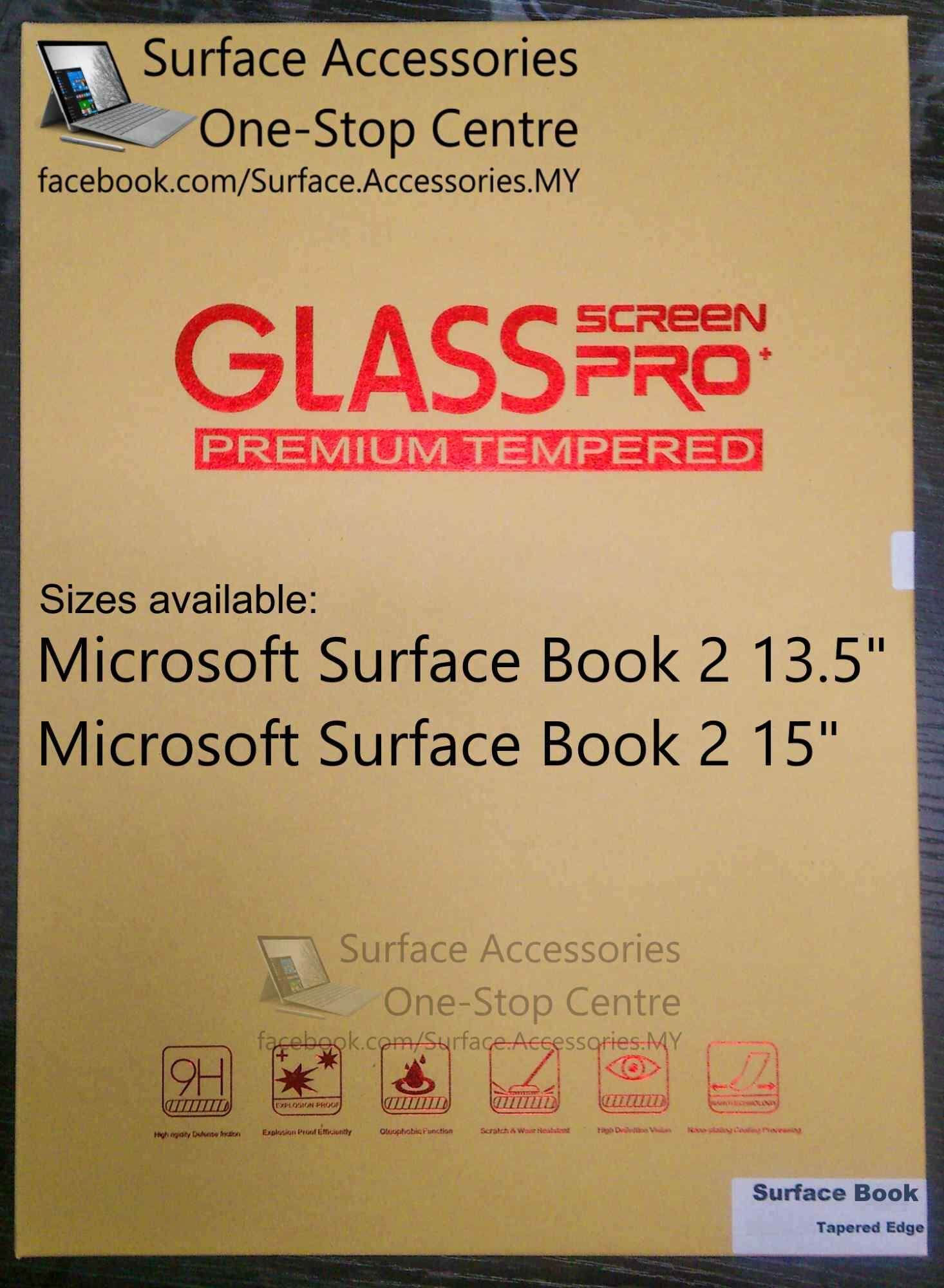 "[MALAYSIA]Surface Book 2 Tempered Glass Hardness 9H Hardness Nano Coating Anti Shatter Film Microsoft Surface Book 2 13.5"" Microsoft Surface Book 2 15""Microsoft Surface Book 13.5"" Microsoft Surface Book 15"""
