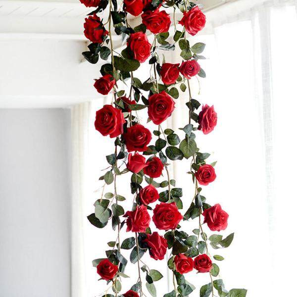 180cm Artificial Rose Flower Vine Wedding Decorative Real Touch Silk Flowers With Green Leaves for Home Hanging Garland Decor(red) Free Shipping