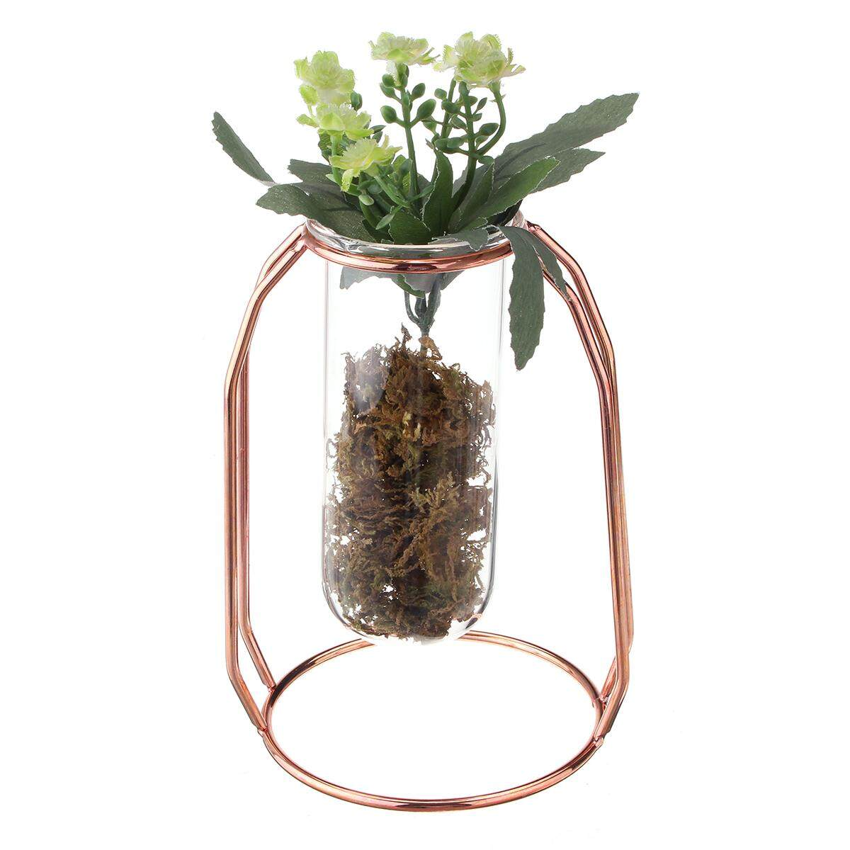 Hanging Glass Water Tube Vase Plant Pot Metal Stand Flower Bottle Container Deco Small