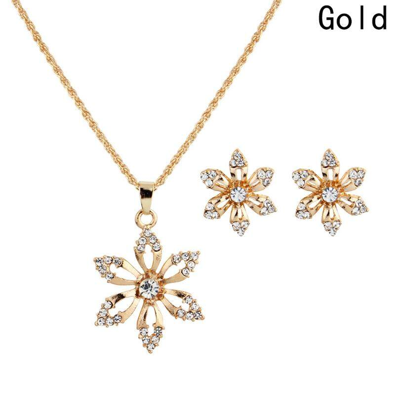 Linfang Fashion Diamond Bunga Manis Liontin Kalung Bagus Anting Pengantin Wanita Perhiasan Pernikahan Set-Intl