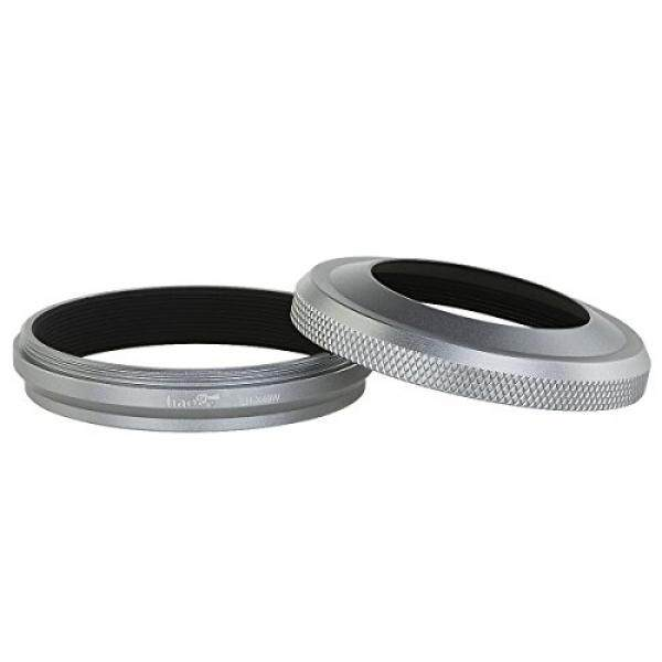Haoge LH-X49W 2in1 Semua Logam Ultra Lensa Tipis Hood dengan Cincin Adapter Set untuk Fuji Fujifilm FinePix X70 X100 X100S X100T X100F Perak -Intl