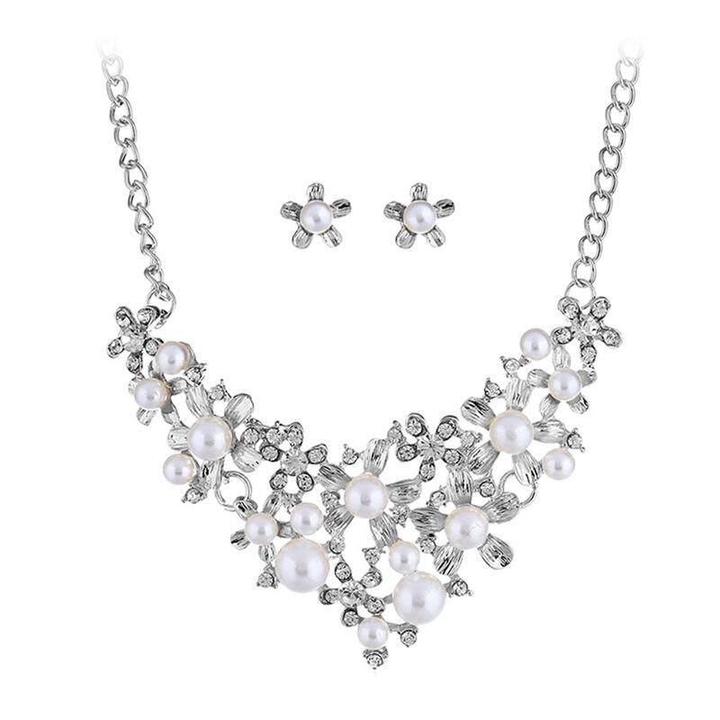 Linfang Perhiasan Perempuan 3 Pcs Set Manis Bunga Berlian Kalung Mutiara Anting-Anting