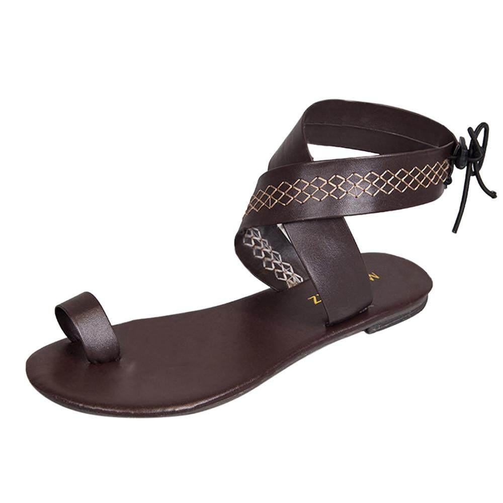 Hatchshop Women Cross Belt Rome Strappy Gladiator Low Flat Flip Flops Beach  Sandals Shoes d05dc72c1d1