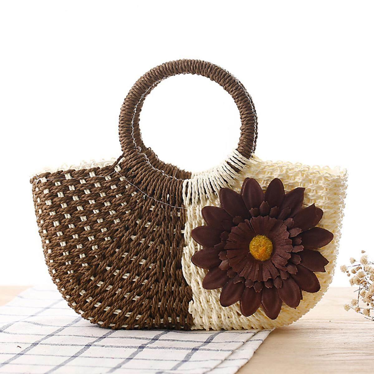 Fashion Women Flower Straw Bag Vacation Woven Tote Lady Summer Beach Handbag - intl